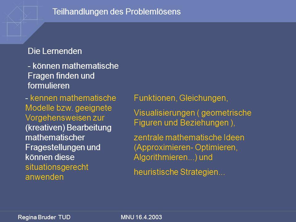 Regina Bruder TUD MNU 16.4.2003 - kennen mathematische Modelle bzw. geeignete Vorgehensweisen zur (kreativen) Bearbeitung mathematischer Fragestellung