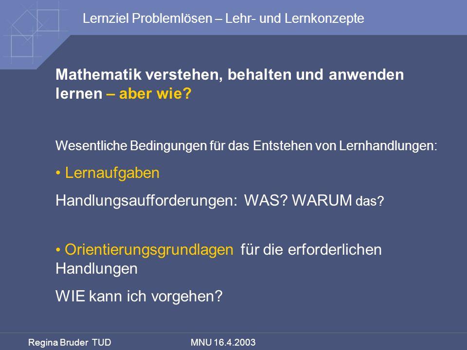Regina Bruder TUD MNU 16.4.2003 Mathematik verstehen, behalten und anwenden lernen – aber wie? Wesentliche Bedingungen für das Entstehen von Lernhandl