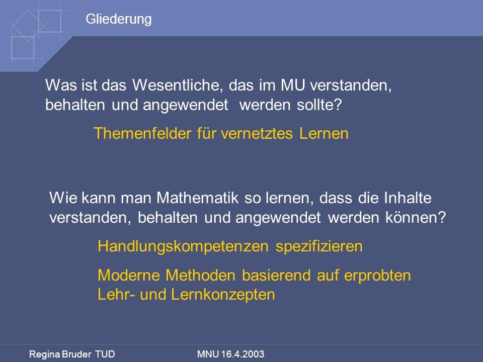 Regina Bruder TUD MNU 16.4.2003 Mathematik verstehen, behalten und anwenden lernen – aber wie.