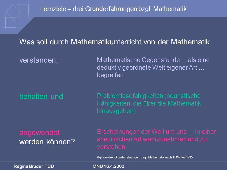 Regina Bruder TUD MNU 16.4.2003 Was soll durch Mathematikunterricht von der Mathematik verstanden, behalten und angewendet werden können? Erscheinunge