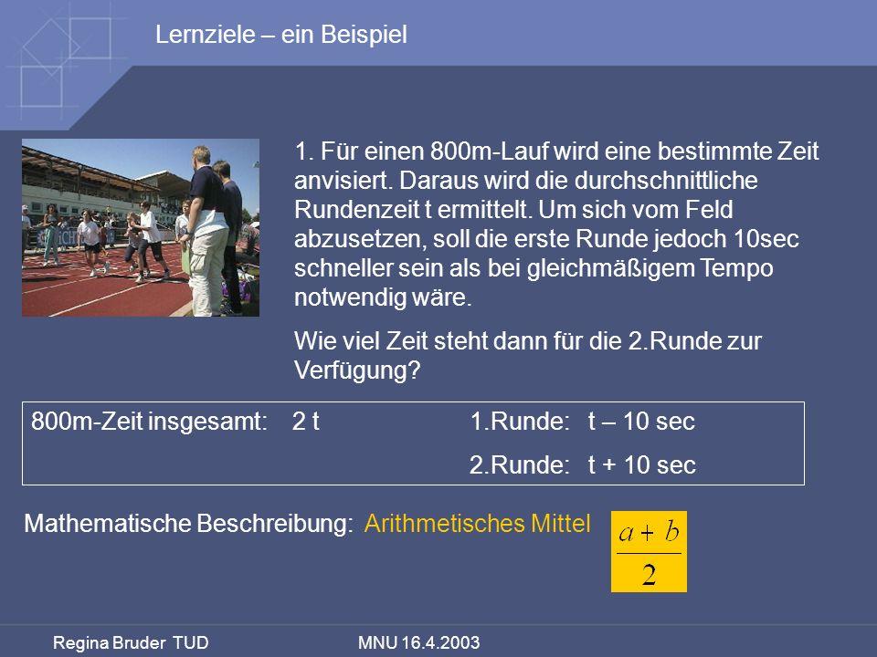 Regina Bruder TUD MNU 16.4.2003 1. Für einen 800m-Lauf wird eine bestimmte Zeit anvisiert. Daraus wird die durchschnittliche Rundenzeit t ermittelt. U