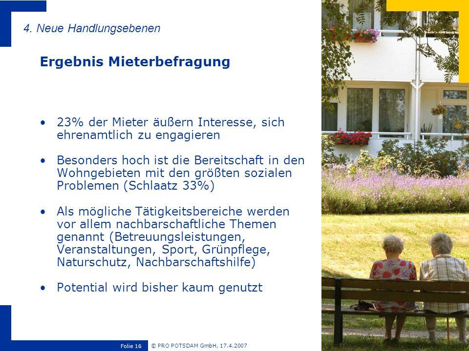 © PRO POTSDAM GmbH, 17.4.2007 Folie 16 23% der Mieter äußern Interesse, sich ehrenamtlich zu engagieren Besonders hoch ist die Bereitschaft in den Woh