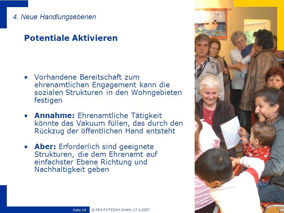 © PRO POTSDAM GmbH, 17.4.2007 Folie 19 Vorhandene Bereitschaft zum ehrenamtlichen Engagement kann die sozialen Strukturen in den Wohngebieten festigen