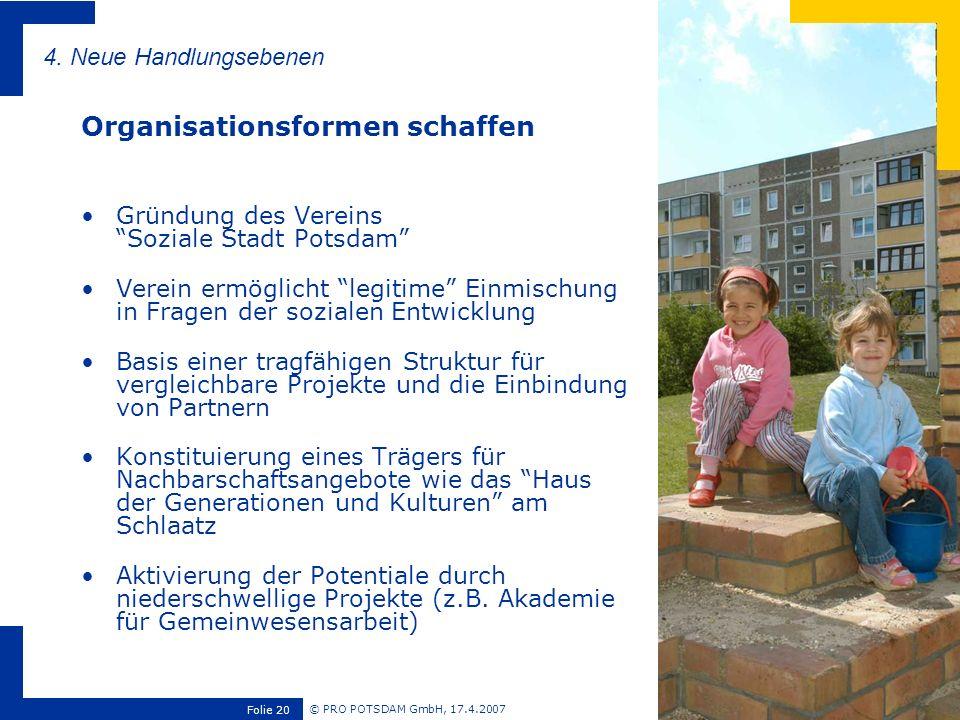 © PRO POTSDAM GmbH, 17.4.2007 Folie 20 Gründung des Vereins Soziale Stadt Potsdam Verein ermöglicht legitime Einmischung in Fragen der sozialen Entwic