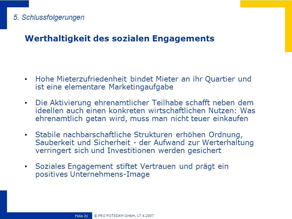 © PRO POTSDAM GmbH, 17.4.2007 Folie 21 Hohe Mieterzufriedenheit bindet Mieter an ihr Quartier und ist eine elementare Marketingaufgabe Die Aktivierung