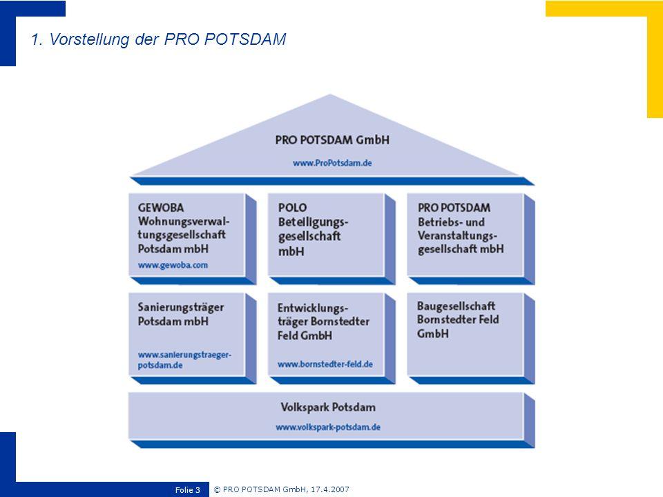 © PRO POTSDAM GmbH, 17.4.2007 Folie 4 Umsatzvolumen: 101 Mio.