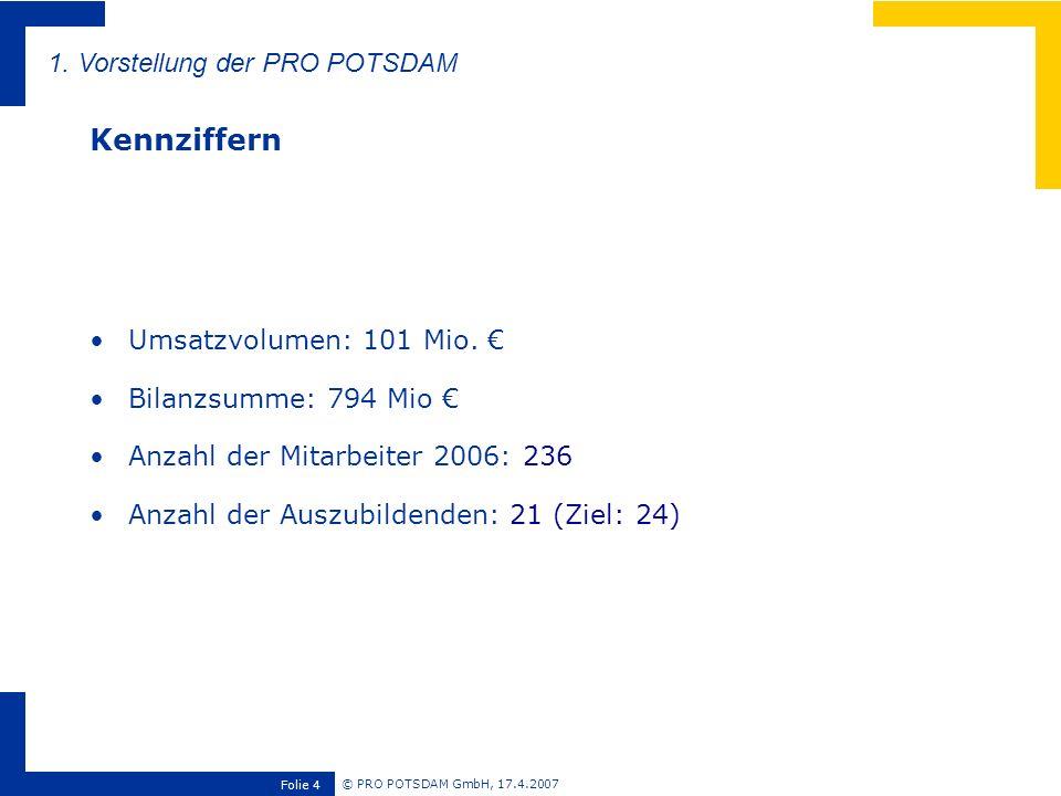 © PRO POTSDAM GmbH, 17.4.2007 Folie 4 Umsatzvolumen: 101 Mio. Bilanzsumme: 794 Mio Anzahl der Mitarbeiter 2006: 236 Anzahl der Auszubildenden: 21 (Zie