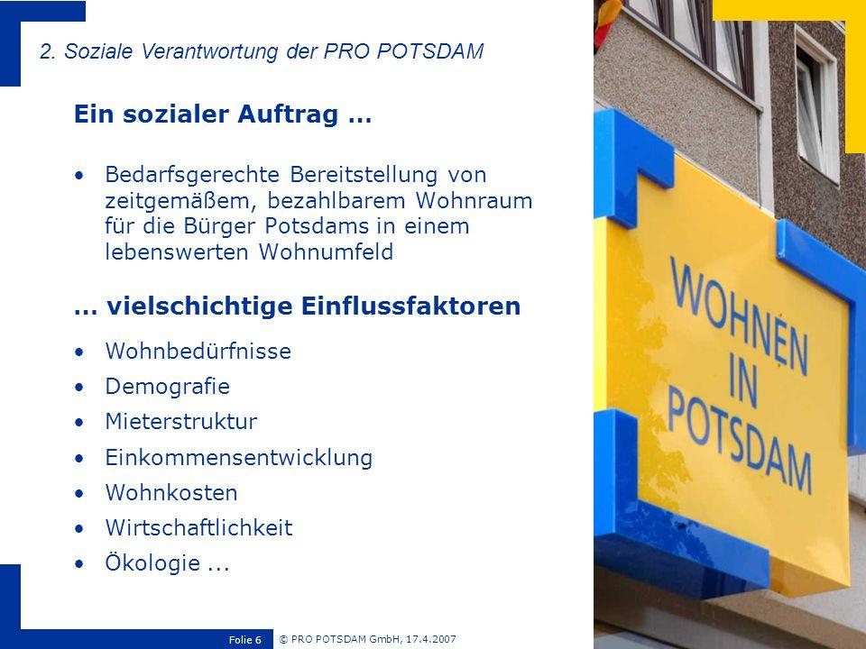 © PRO POTSDAM GmbH, 17.4.2007 Folie 6 Bedarfsgerechte Bereitstellung von zeitgemäßem, bezahlbarem Wohnraum für die Bürger Potsdams in einem lebenswert