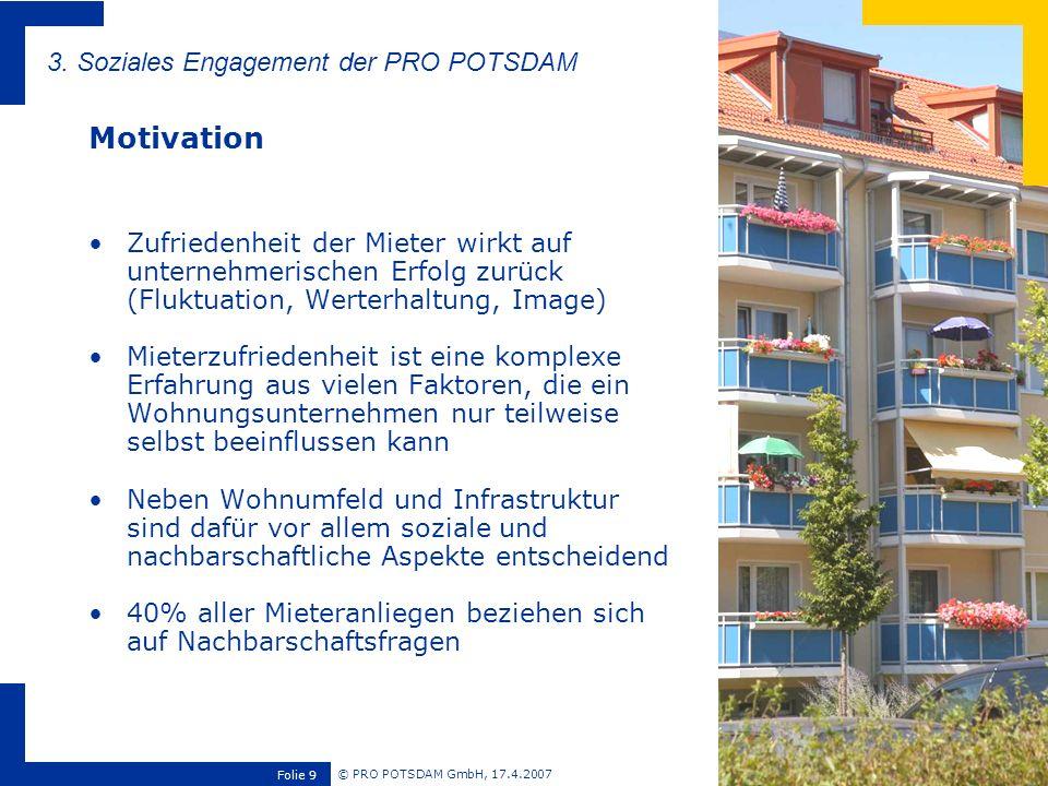 © PRO POTSDAM GmbH, 17.4.2007 Folie 9 Zufriedenheit der Mieter wirkt auf unternehmerischen Erfolg zurück (Fluktuation, Werterhaltung, Image) Mieterzuf