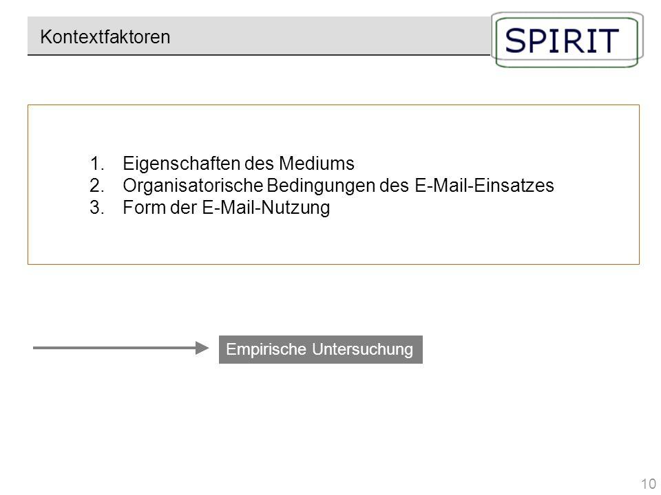 1.Eigenschaften des Mediums 2.Organisatorische Bedingungen des E-Mail-Einsatzes 3.Form der E-Mail-Nutzung Kontextfaktoren Empirische Untersuchung 10
