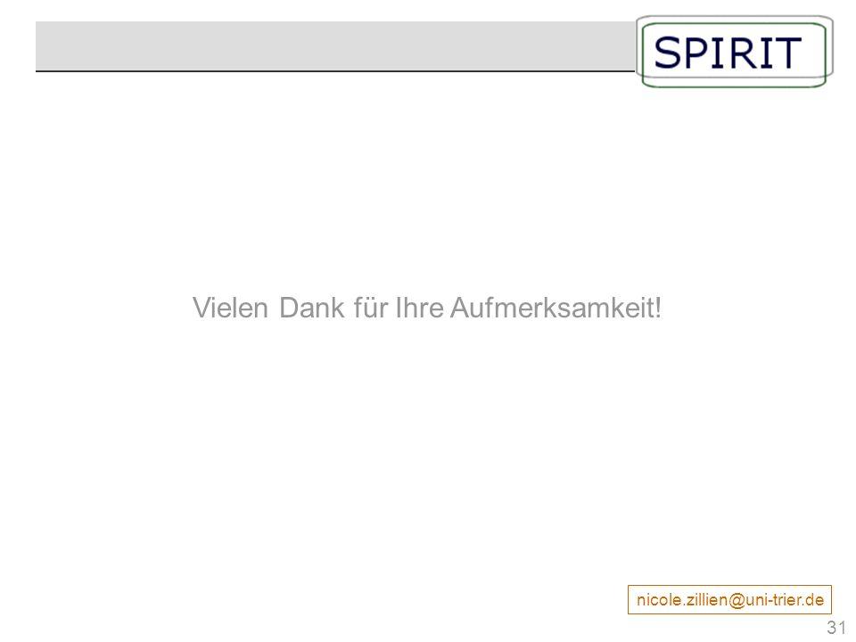 Vielen Dank für Ihre Aufmerksamkeit! nicole.zillien@uni-trier.de Danke 31