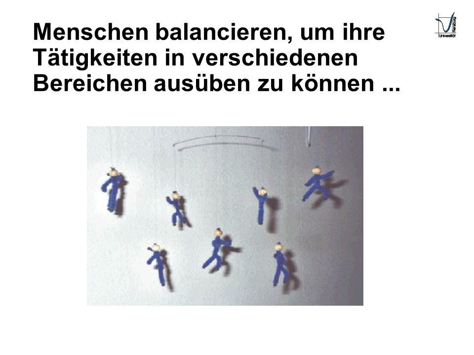Menschen balancieren, um ihre Tätigkeiten in verschiedenen Bereichen ausüben zu können...