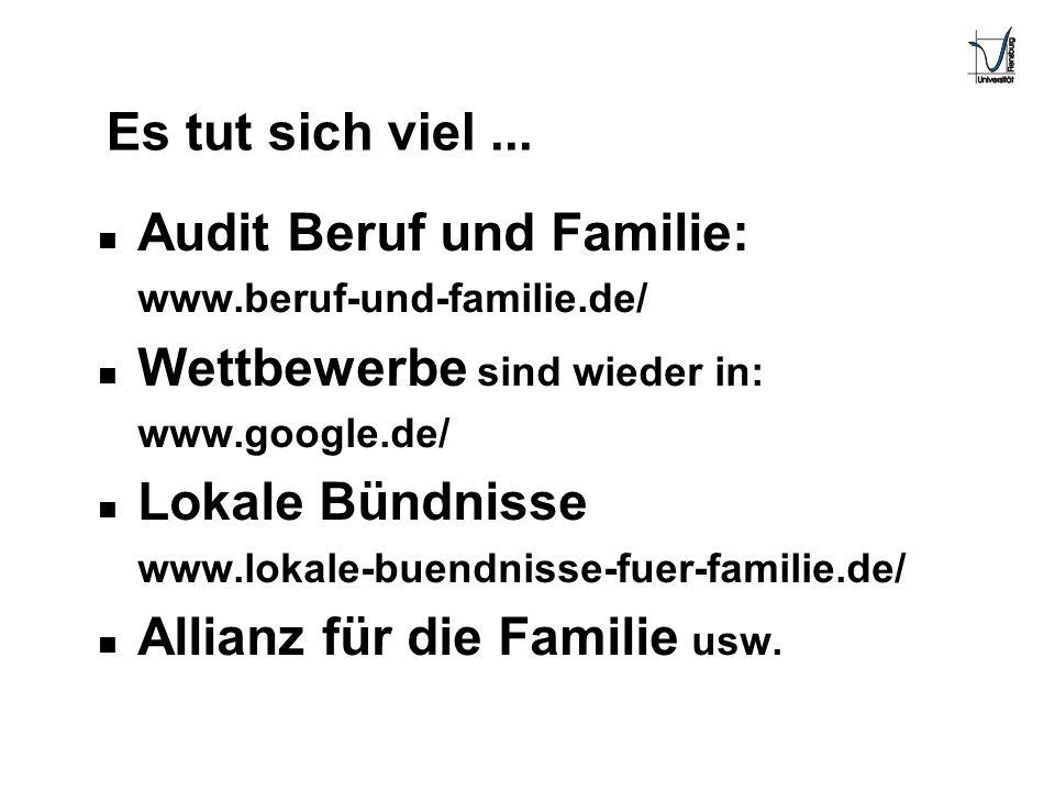 Es tut sich viel... n Audit Beruf und Familie: www.beruf-und-familie.de/ n Wettbewerbe sind wieder in: www.google.de/ n Lokale Bündnisse www.lokale-bu
