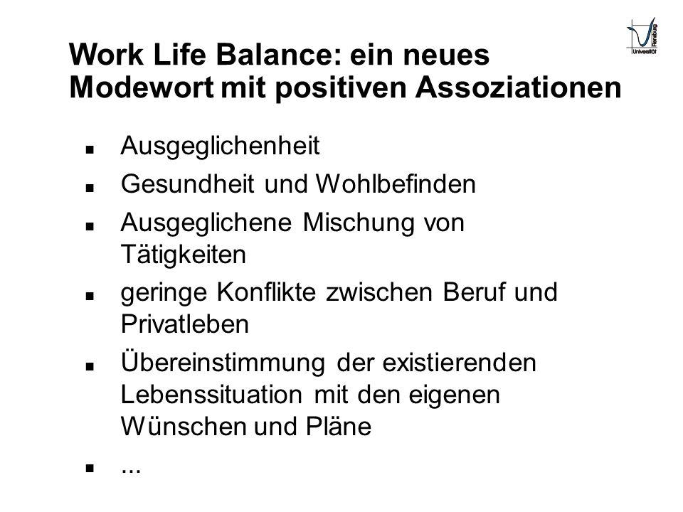 Work Life Balance: ein neues Modewort mit positiven Assoziationen n Ausgeglichenheit n Gesundheit und Wohlbefinden n Ausgeglichene Mischung von Tätigk