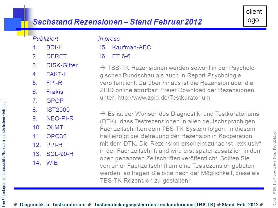 Datei:...\TBS_TK_Präsentation_Stand_Feb_2012.ppt Diagnostik- u.