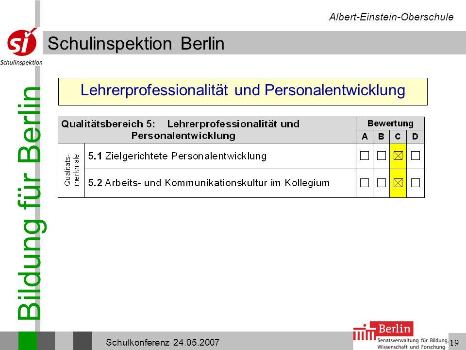 Bildung für Berlin Schulinspektion Berlin Albert-Einstein-Oberschule Schulkonferenz 24.05.200719 Lehrerprofessionalität und Personalentwicklung
