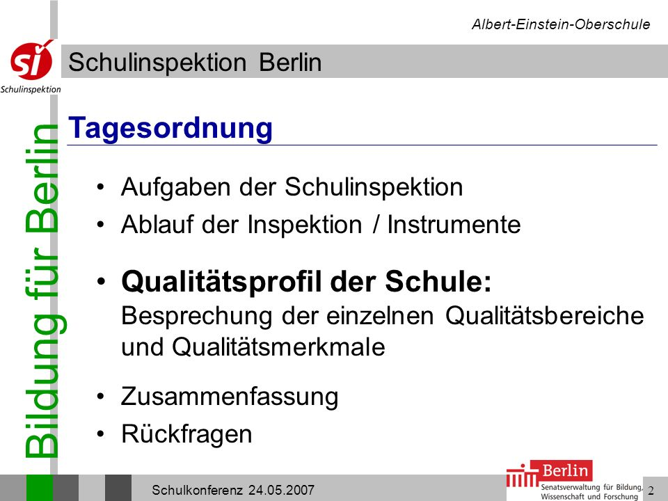 Bildung für Berlin Schulinspektion Berlin Albert-Einstein-Oberschule Schulkonferenz 24.05.20072 Aufgaben der Schulinspektion Ablauf der Inspektion / I
