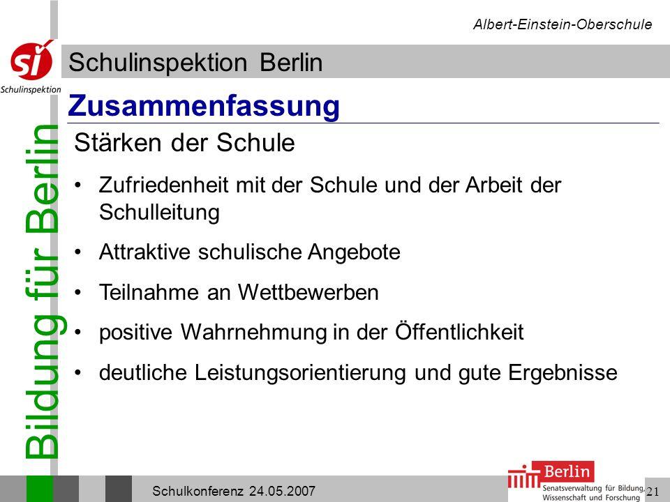 Bildung für Berlin Schulinspektion Berlin Albert-Einstein-Oberschule Schulkonferenz 24.05.200721 Zusammenfassung Zufriedenheit mit der Schule und der