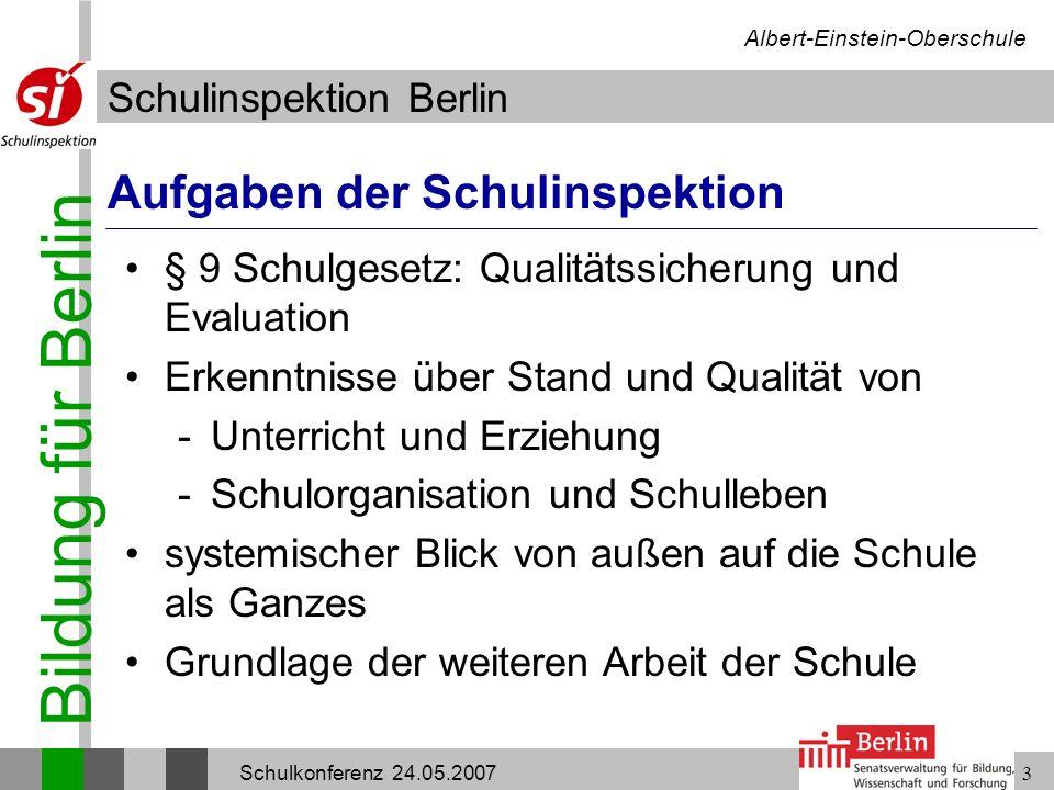 Bildung für Berlin Schulinspektion Berlin Albert-Einstein-Oberschule Schulkonferenz 24.05.200714 Lehr- und Lernprozesse Verteilung der Sozialformen bei 83 Unterrichtsbesuchen SozialformFrontal- unterricht Einzel- arbeit Partner- arbeit Gruppen- arbeit Anzahl der Unterrichts- sequenzen 49202328 Prozentuale Verteilung 59 %24 %28 %34 %