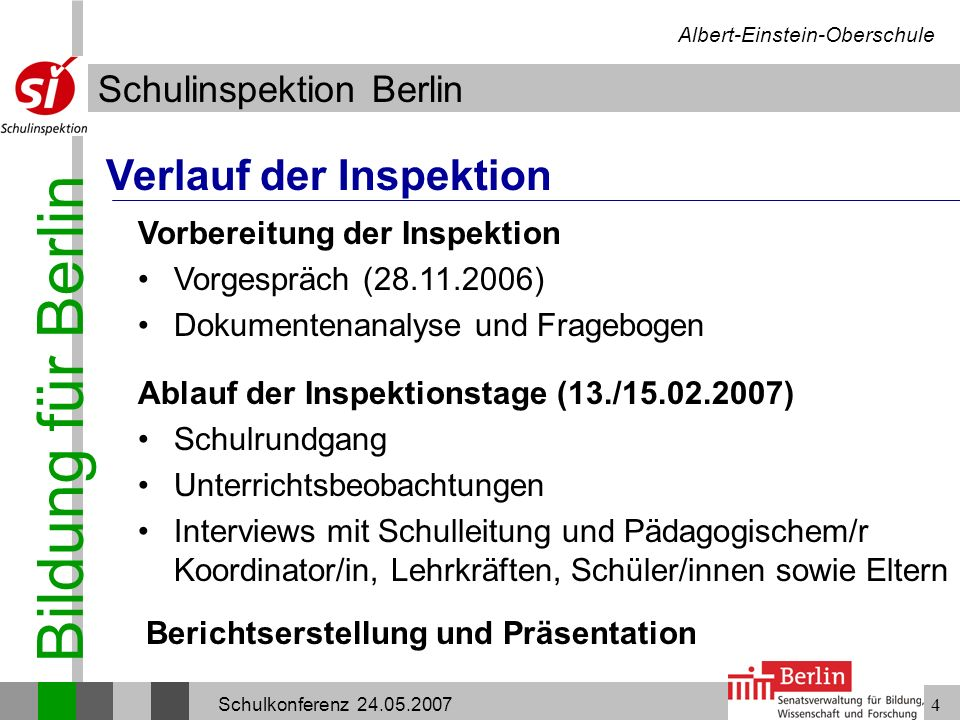 Bildung für Berlin Schulinspektion Berlin Albert-Einstein-Oberschule Schulkonferenz 24.05.20074 Verlauf der Inspektion Vorbereitung der Inspektion Vor