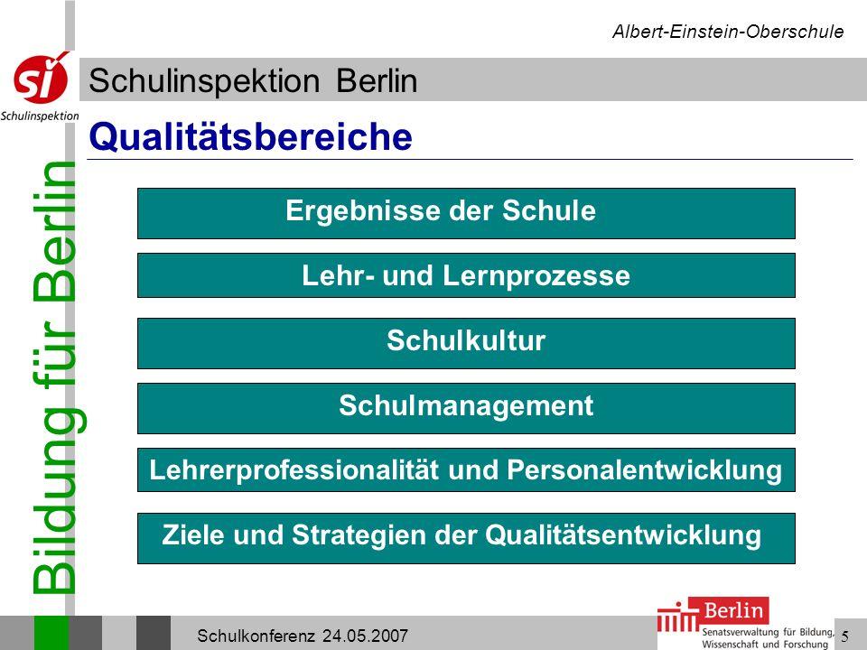 Bildung für Berlin Schulinspektion Berlin Albert-Einstein-Oberschule Schulkonferenz 24.05.20075 Qualitätsbereiche Ergebnisse der Schule Lehr- und Lern