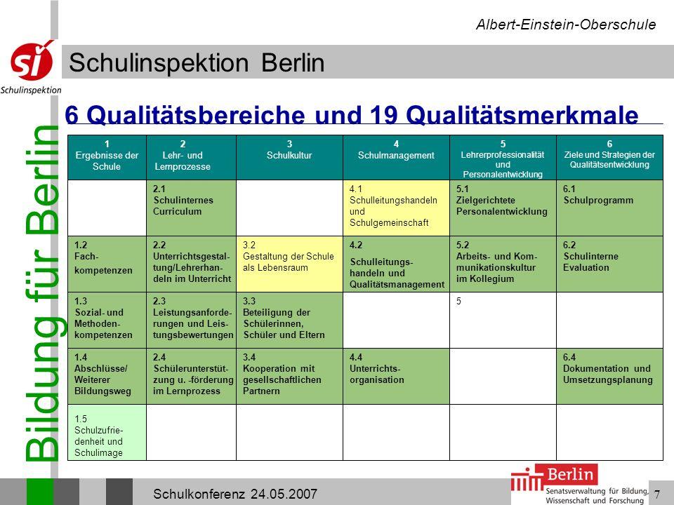Bildung für Berlin Schulinspektion Berlin Albert-Einstein-Oberschule Schulkonferenz 24.05.20077 6 Ziele und Strategien der Qualitätsentwicklung 1 Erge