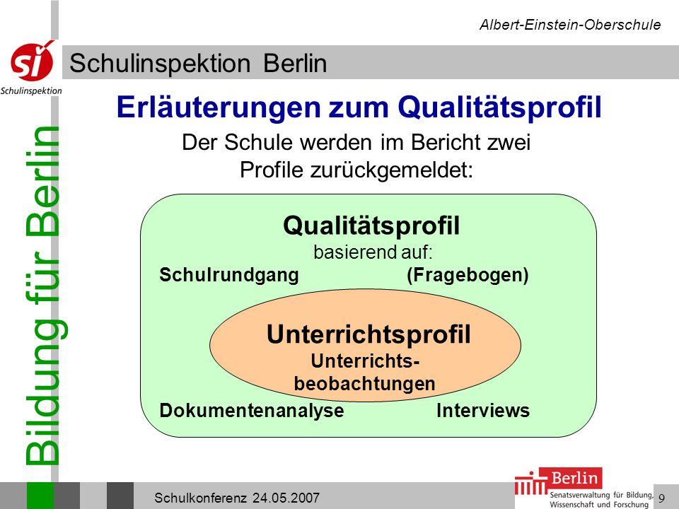 Bildung für Berlin Schulinspektion Berlin Albert-Einstein-Oberschule Schulkonferenz 24.05.20079 Erläuterungen zum Qualitätsprofil Der Schule werden im