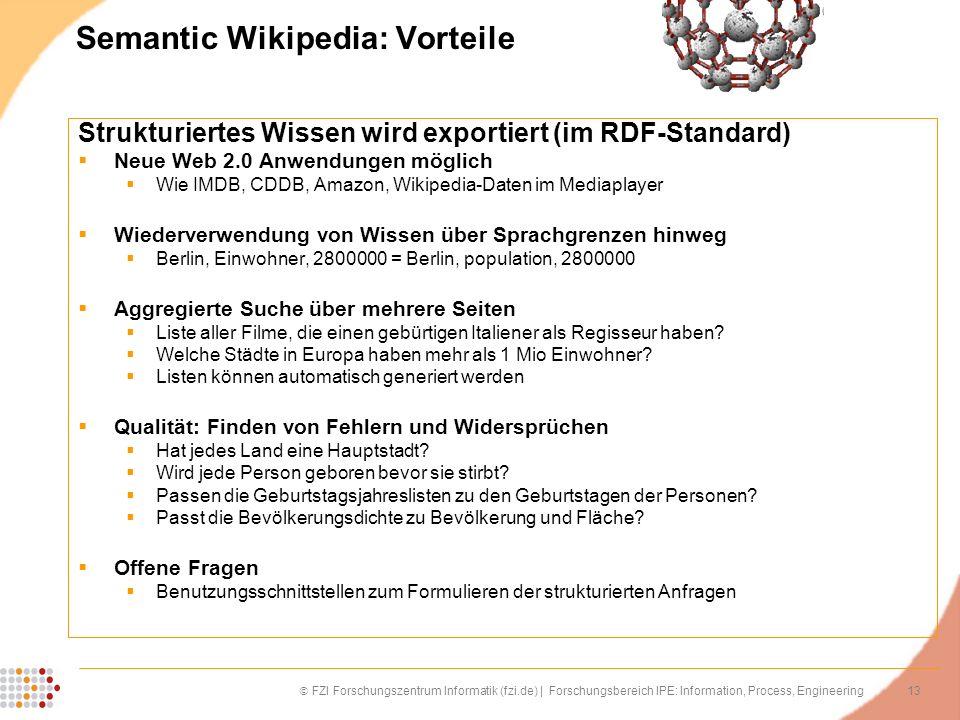 13 FZI Forschungszentrum Informatik (fzi.de) | Forschungsbereich IPE: Information, Process, Engineering Semantic Wikipedia: Vorteile Strukturiertes Wi
