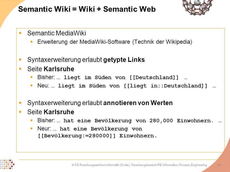 14 FZI Forschungszentrum Informatik (fzi.de) | Forschungsbereich IPE: Information, Process, Engineering Semantic Wiki = Wiki + Semantic Web Semantic M