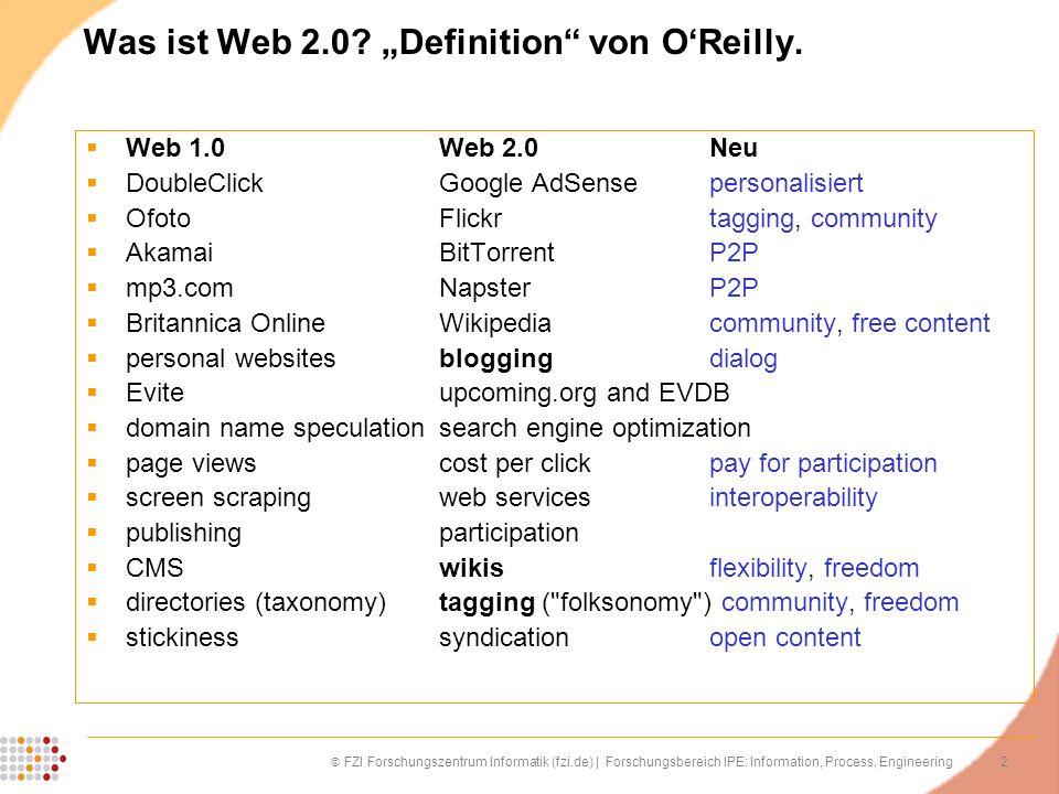 2 FZI Forschungszentrum Informatik (fzi.de) | Forschungsbereich IPE: Information, Process, Engineering Was ist Web 2.0? Definition von OReilly. Web 1.