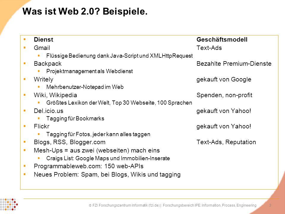3 FZI Forschungszentrum Informatik (fzi.de) | Forschungsbereich IPE: Information, Process, Engineering Was ist Web 2.0? Beispiele. DienstGeschäftsmode