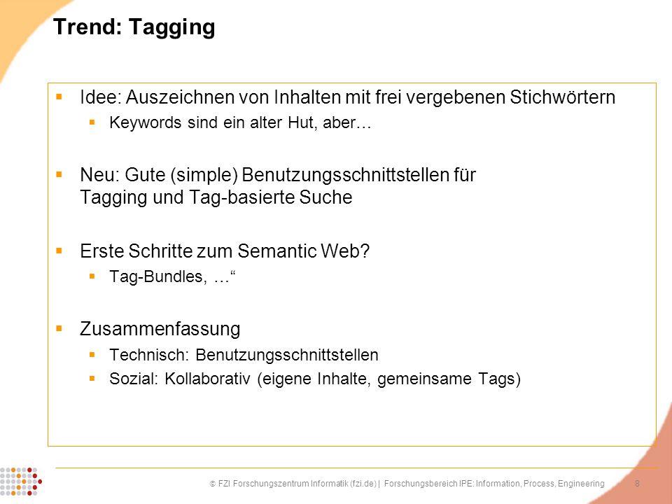 8 FZI Forschungszentrum Informatik (fzi.de) | Forschungsbereich IPE: Information, Process, Engineering Trend: Tagging Idee: Auszeichnen von Inhalten m