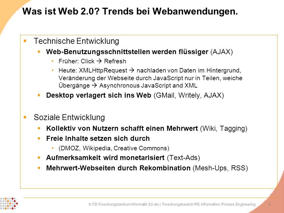 9 FZI Forschungszentrum Informatik (fzi.de) | Forschungsbereich IPE: Information, Process, Engineering Was ist Web 2.0? Trends bei Webanwendungen. Tec
