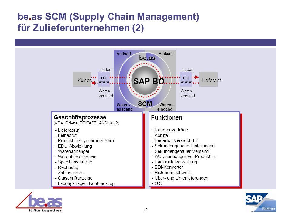 12 be.as SCM (Supply Chain Management) für Zulieferunternehmen (2) - Lieferabruf - Feinabruf - Produktionssynchroner Abruf - EDL- Abwicklung - Warenan