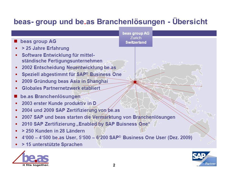 2 beas- group und be.as Branchenlösungen - Übersicht beas group AG Zurich Switzerland beas group AG > 25 Jahre Erfahrung Software Entwicklung für mitt