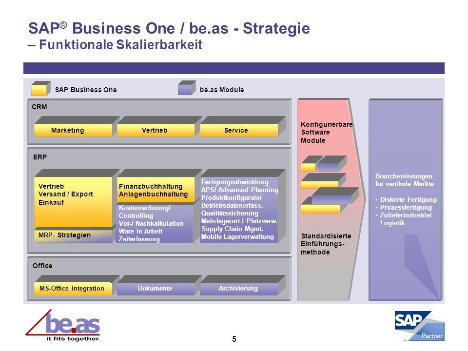 5 SAP ® Business One / be.as - Strategie – Funktionale Skalierbarkeit Office CRM ERP SAP Business Onebe.as Module Branchenlösungen für vertikale Märkt