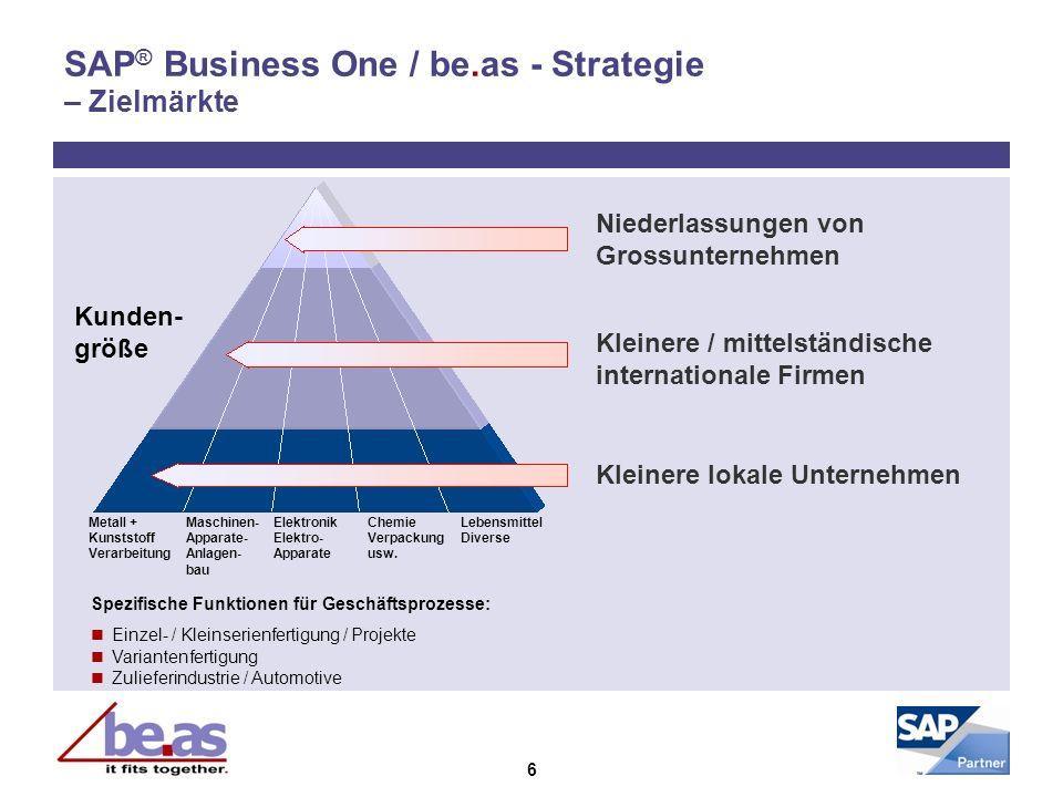 6 SAP ® Business One / be.as - Strategie – Zielmärkte Metall + Maschinen- Elektronik Chemie Lebensmittel Kunststoff Apparate- Elektro- Verpackung Dive