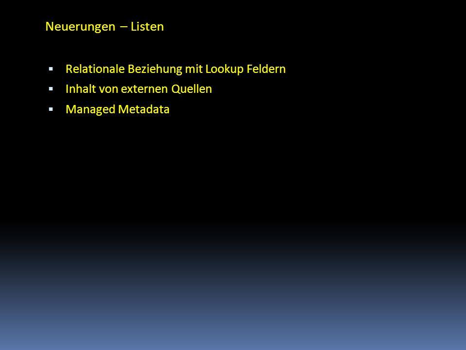 Neuerungen – Listen Relationale Beziehung mit Lookup Feldern Inhalt von externen Quellen Managed Metadata