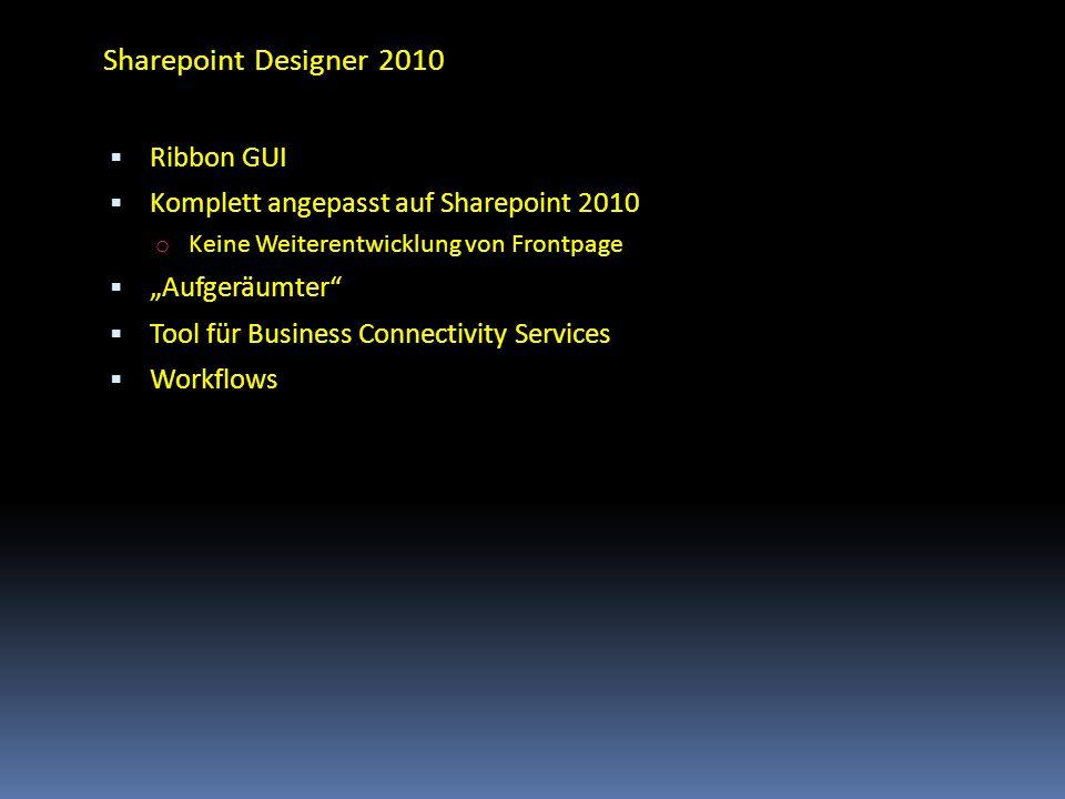 Sharepoint Designer 2010 Ribbon GUI Komplett angepasst auf Sharepoint 2010 o Keine Weiterentwicklung von Frontpage Aufgeräumter Tool für Business Conn