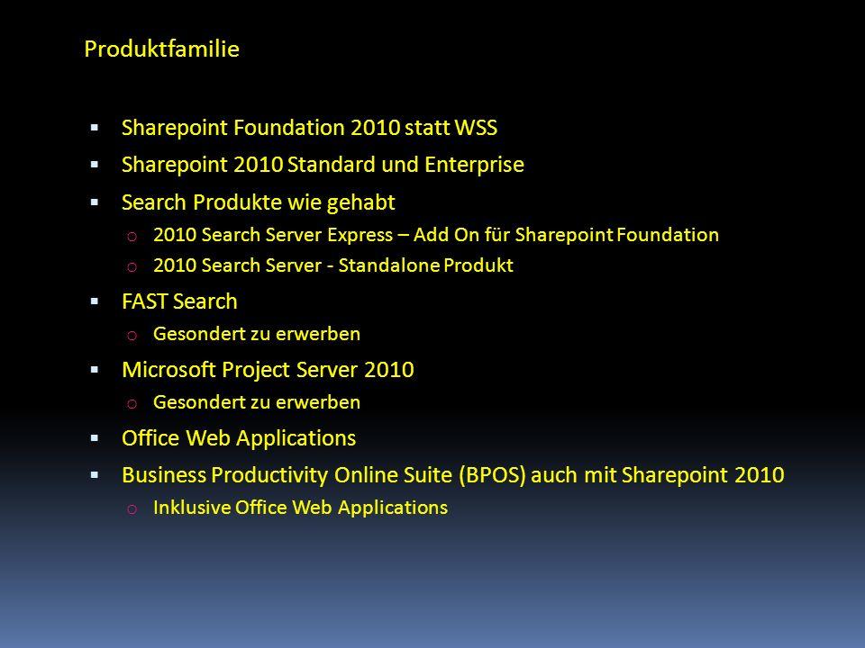 Produktfamilie Sharepoint Foundation 2010 statt WSS Sharepoint 2010 Standard und Enterprise Search Produkte wie gehabt o 2010 Search Server Express –