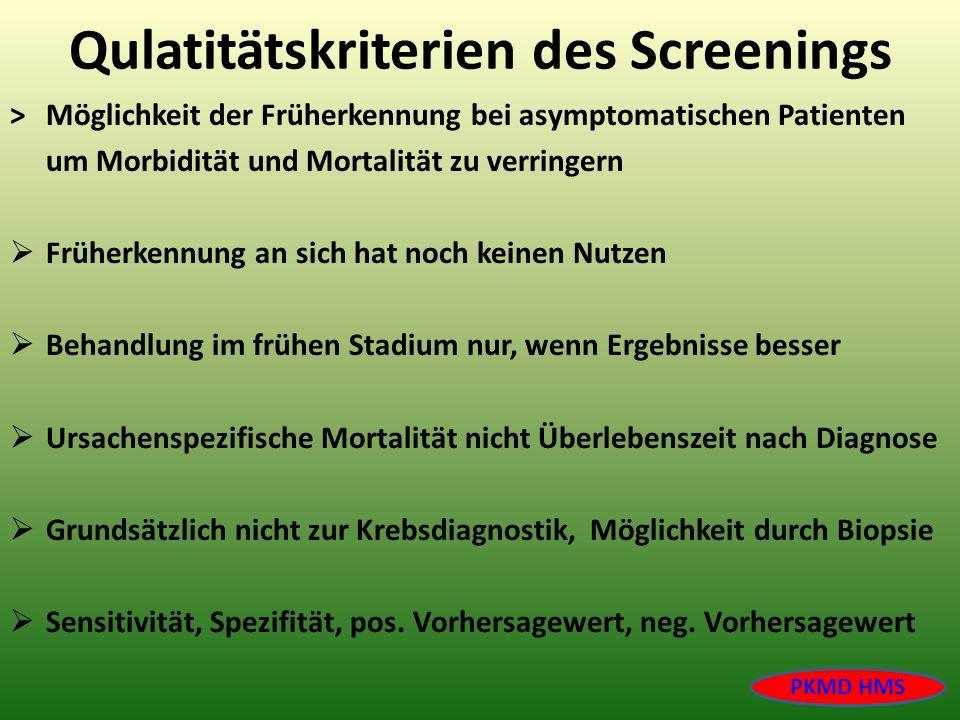 Qulatitätskriterien des Screenings >Möglichkeit der Früherkennung bei asymptomatischen Patienten um Morbidität und Mortalität zu verringern Früherkenn