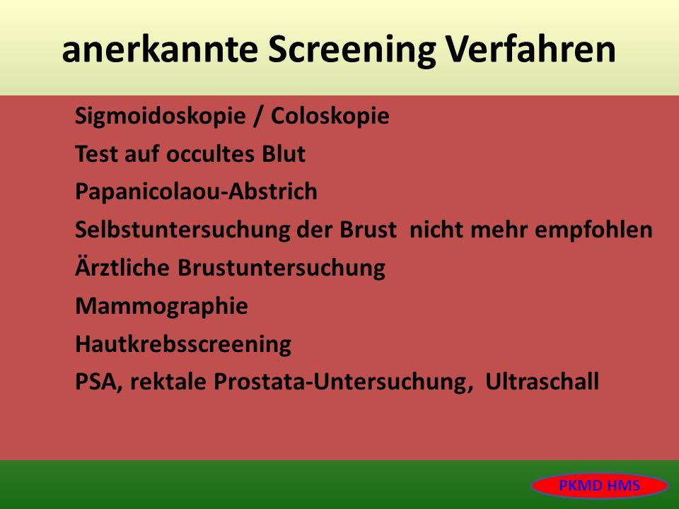 anerkannte Screening Verfahren Sigmoidoskopie / Coloskopie Test auf occultes Blut Papanicolaou-Abstrich Selbstuntersuchung der Brust nicht mehr empfoh