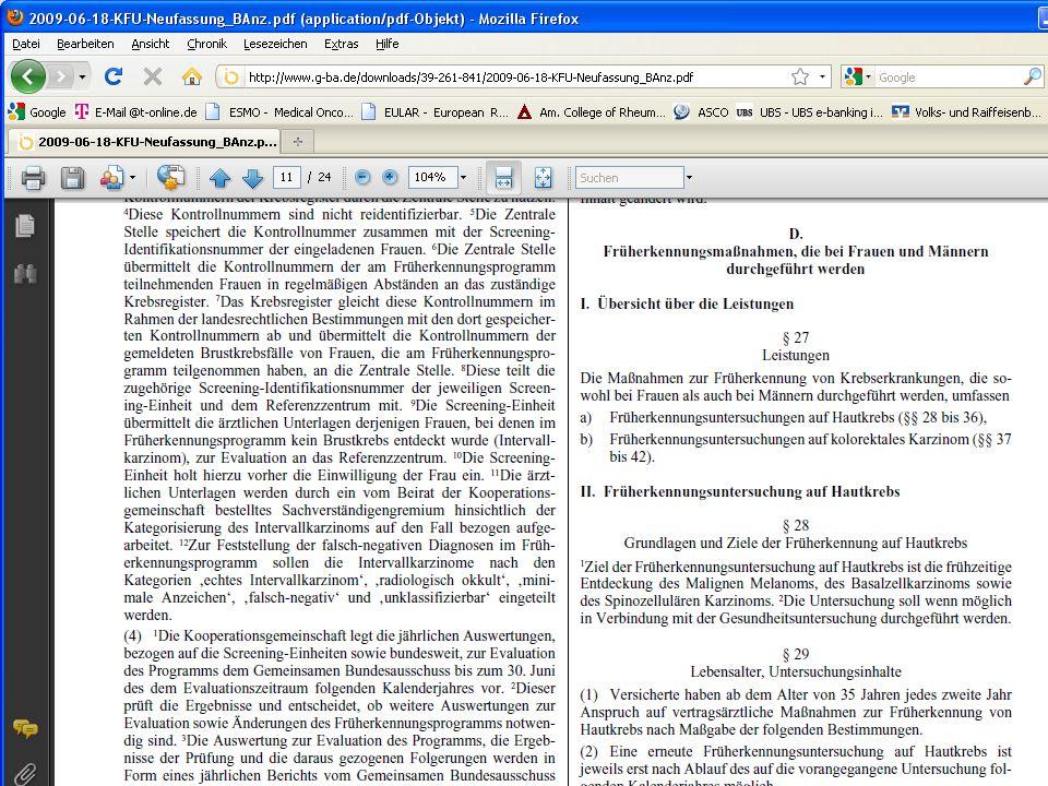 Euro EBM Vorsorgeziffern ZifferWert Beschreibung 01730 17,87Krebsfrüherkennung Frau 0173114,19Krebsfrüherkennung Mann 0173229,97Gesundheitsuntersuchung 01733 7,76Zytologische Untersuchung 01734 2,45Haemoccult Test 0173510,16Beratung nach § 4 chron.