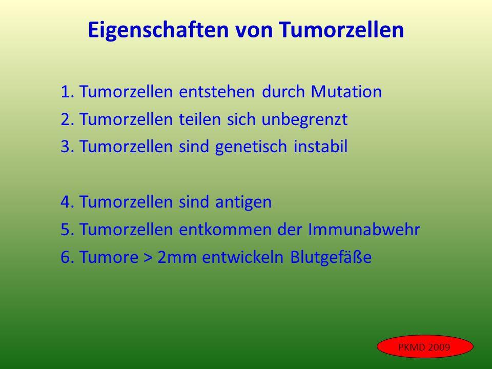 Eigenschaften von Tumorzellen 1. Tumorzellen entstehen durch Mutation 2. Tumorzellen teilen sich unbegrenzt 3. Tumorzellen sind genetisch instabil 4.