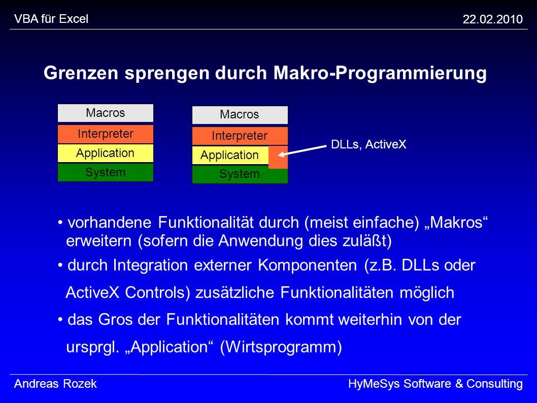 VBA für Excel 22.02.2010 Andreas RozekHyMeSys Software & Consulting Grenzen sprengen durch Makro-Programmierung Macros Interpreter Application System