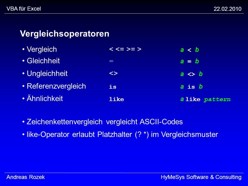 VBA für Excel 22.02.2010 Andreas RozekHyMeSys Software & Consulting Vergleichsoperatoren Vergleich = > a < b Gleichheit = a = b Ungleichheit<> a <> b