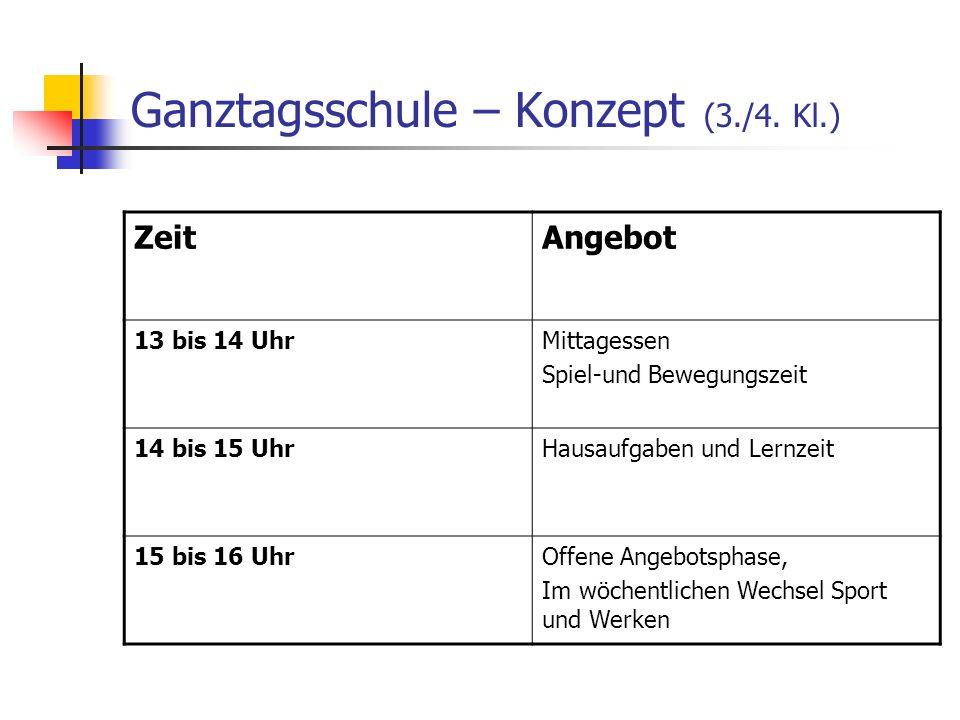 Ganztagsschule – Konzept (3./4. Kl.) ZeitAngebot 13 bis 14 UhrMittagessen Spiel-und Bewegungszeit 14 bis 15 UhrHausaufgaben und Lernzeit 15 bis 16 Uhr