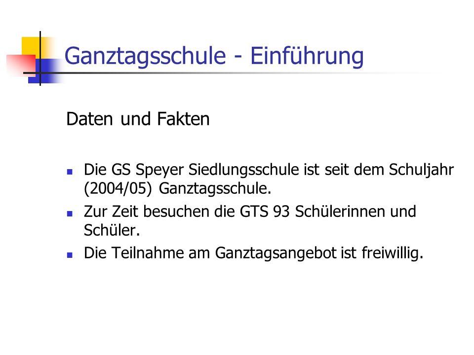 Ganztagsschule - Einführung Daten und Fakten Die GS Speyer Siedlungsschule ist seit dem Schuljahr (2004/05) Ganztagsschule. Zur Zeit besuchen die GTS
