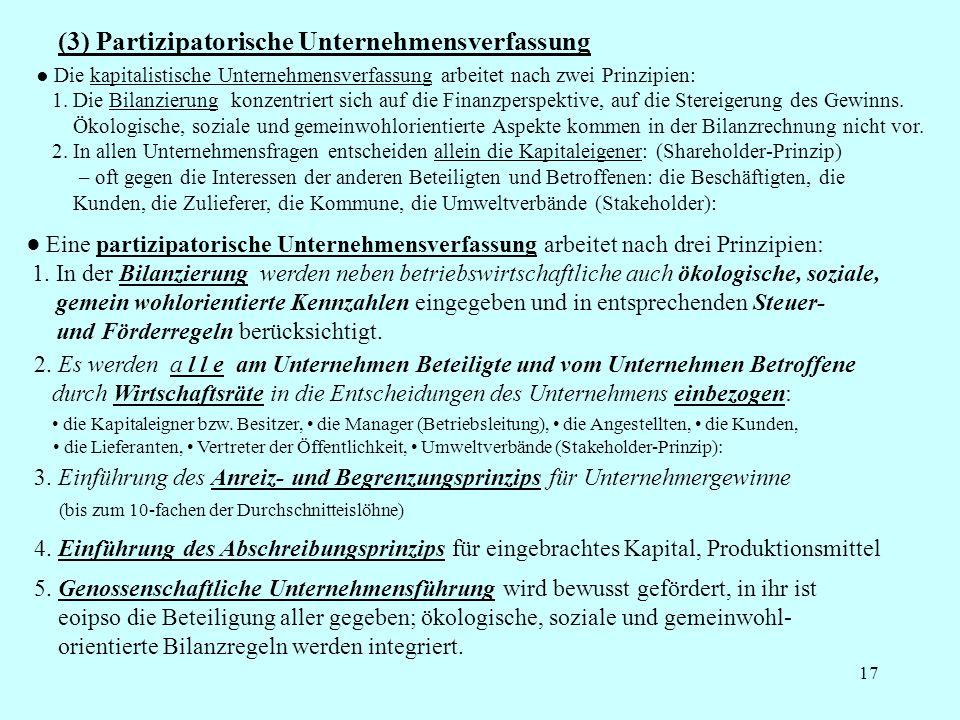 17 (3) Partizipatorische Unternehmensverfassung Die kapitalistische Unternehmensverfassung arbeitet nach zwei Prinzipien: 1. Die Bilanzierung konzentr