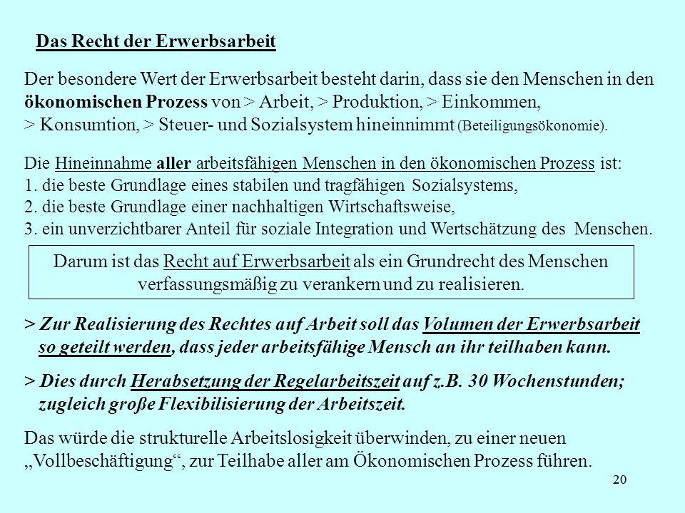 20 Das Recht der Erwerbsarbeit Die Hineinnahme aller arbeitsfähigen Menschen in den ökonomischen Prozess ist: 1. die beste Grundlage eines stabilen un